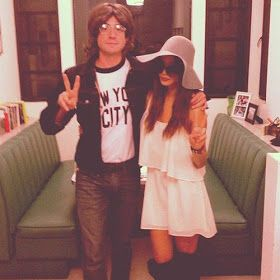 John Lennon & Yoko Ono. Love this Halloween couple costume!  RAIN: A TRIBUTE TO THE BEATLES live on stage at the Sacramento Community Center Theater March 17 - 22, 2015. For tickets and info: http://www.californiamusicaltheatre.com/events/rain/