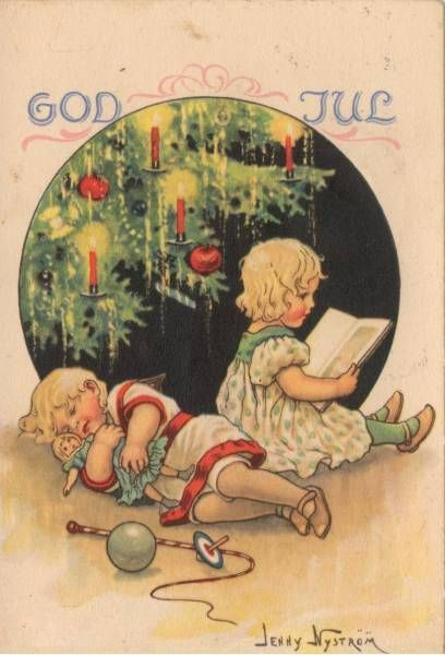 God Jul postcard by Jenny Nyström. (Jaanas Gott o Blandat)