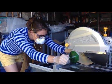 Cortando garrafas com serra diamantada