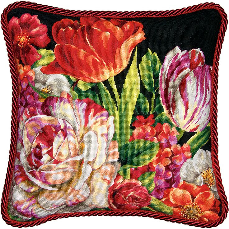 "Simply stunning! In full bloom, the Bouquet on Black needlepoint design from Dimensions creates a striking focal point for any room. Can be finished in a frame or as a pillow (finishing materials not included). Finished size: 14"" x 14"". Designed by Lisa Audit. © Lisa Audit / Wild Apple Graphics. Needlepoint kit includes: • Presorted cotton thread• 14 mesh canvas printed in full color• Needle• Easy instructions"