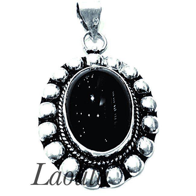 Pendentif en argent agate noir, bijoux ethniques originales
