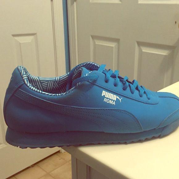 Blue Puma Roma's only wore twice Puma Shoes Sneakers