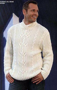 Пуловер с рельефным узором.