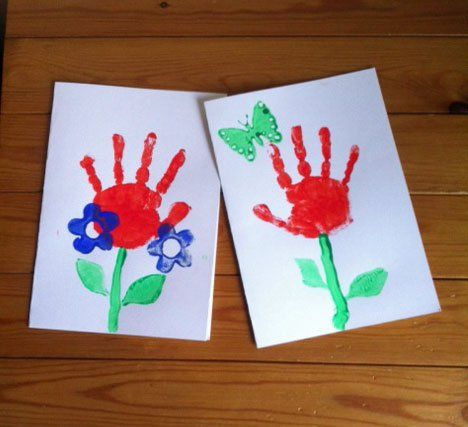 picture of kids handprint flower cards  #craft #kids #painting