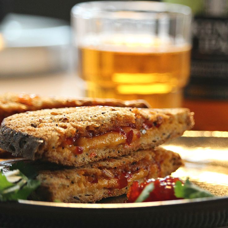 Roasted Raspberry Chipotle Grilled Cheese Sandwich on Sourdough #myallrecipes #allrecipesallstars #allstarsbordencheese #ad