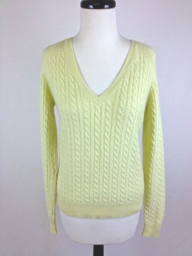 Ann Taylor Sweater Cashmere Lime Green V Neck Luxury Cable