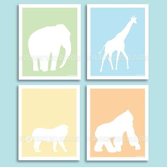 Safari animals nursery art baby boy decor by printableproject
