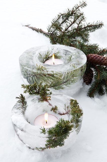 Holiday ice and pine candle votive holder.                                                                                                                                                     More