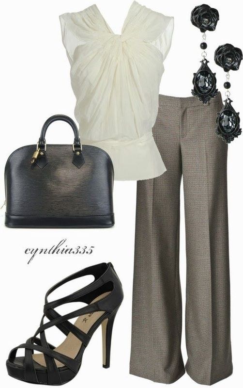 Work Outfit.  Stylish heeled sandals, blouse is loose and flared so tummy is well hidden.