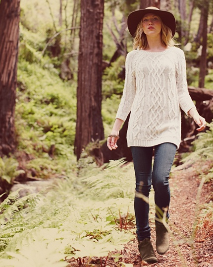 long Cable-Knit with 3/4 sleeves