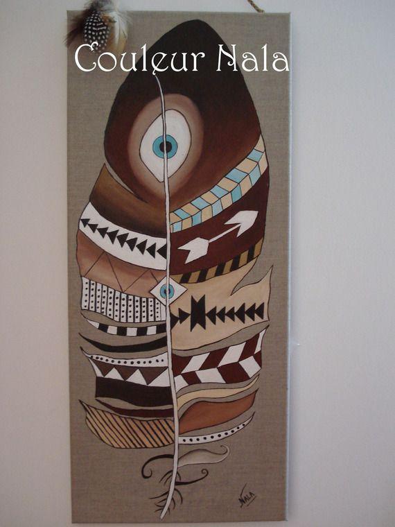 Tableau motif amérindien sur toile de lin, peinture à l'huile, motif plume indienne