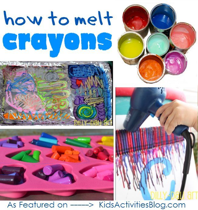 how to melt crayons: Great for all those crayons I bought at the dollar store that have blue wrapping that wouldn't work for my wreath