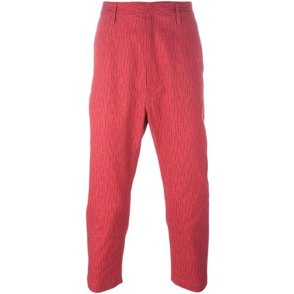 Golden Goose Deluxe Brand - cropped trousers - men - Cotton - S (€200) ❤ liked on Polyvore featuring men's fashion, men's clothing, men's pants, men's casual pants, red, mens patterned pants, mens cotton pants, mens cropped pants, mens elastic waistband pants and mens red pants