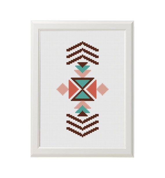 aztèque arrow modern cross stitch pattern natif cross stitch