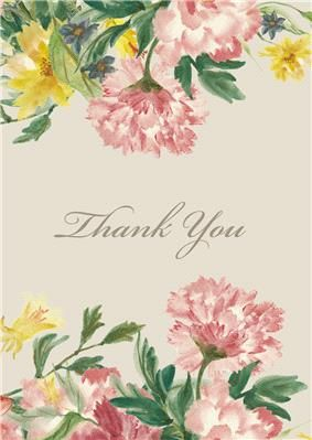 Printable Watercolour Thank You Card with pink and yellow flowers. Perfect to thank your wedding guests. To get your instant download click here: http://www.appleberrypress.com/wedding_shop_printable-card
