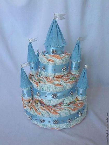 """Подарки для новорожденных, ручной работы. Ярмарка Мастеров - ручная работа. Купить Композиция из подгузников """"Замок для маленького принца"""". Handmade."""