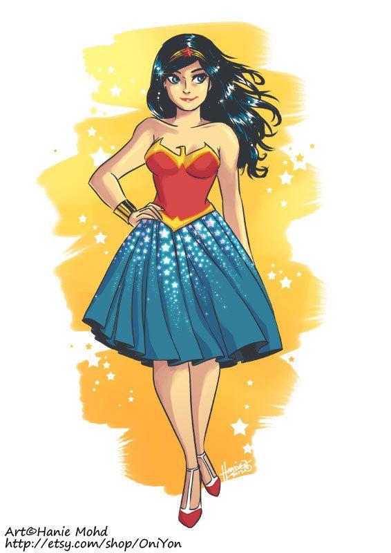 I want to make this into a dress!  Dressy Wonder Woman Art Print. $5.00, via Etsy.