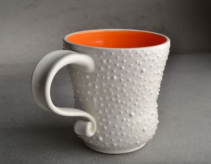 Image of Curvy Dottie Mug White With Orange Interior