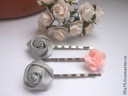 Невидимки Серая роза. Сет из 3 невидимок для волос.Нежный,романтический аксессуар для прически.Невидимки прекрасно дополнят наряд маленькой леди.
