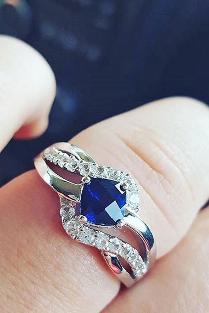 Vivid Sapphire Engagement Rings ❤ See more: http://www.weddingforward.com/sapphire-engagement-rings/ #weddings