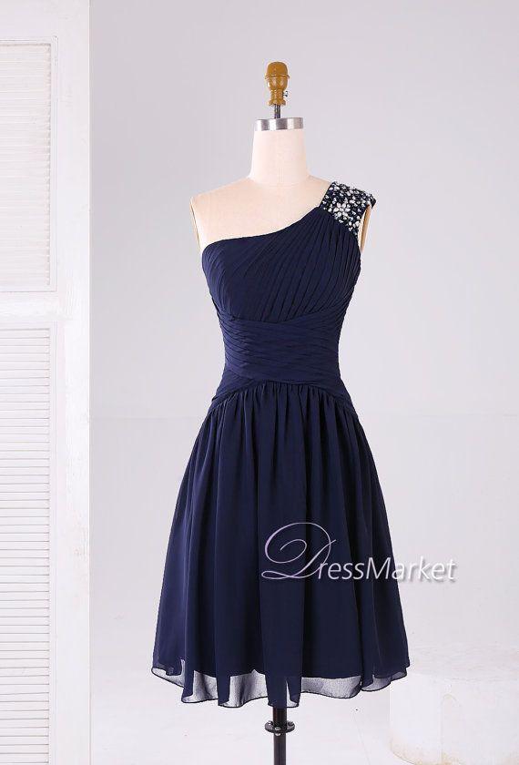 Short one shoulder chiffon beading strap navy homecoming dress,Short chiffon Bridesmaid dress,Short chiffon prom dress,DressMarket005