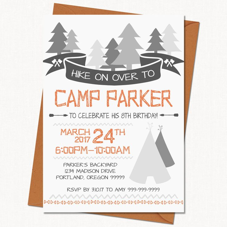 Camping Birthday Invitation // Party Invitation // Birthday Party Invite - Printable Template by jdawsDesign on Etsy https://www.etsy.com/listing/501798136/camping-birthday-invitation-party