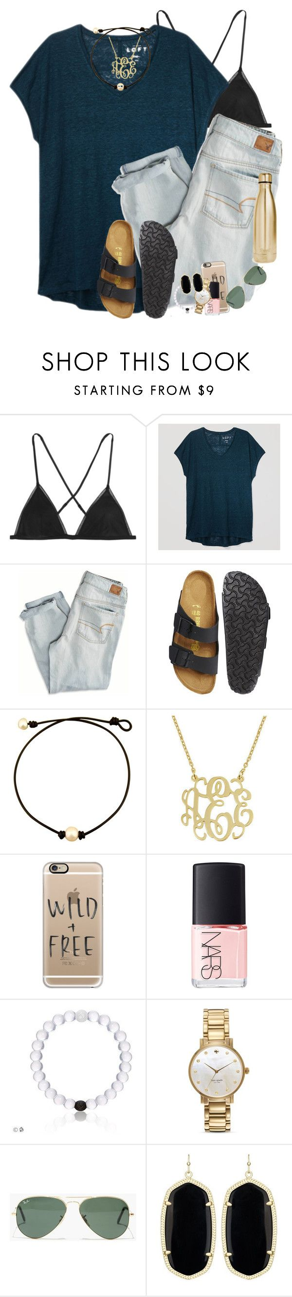 """babysitting tonight"" by smbprep ❤ liked on Polyvore featuring Kiki de Montparnasse, LOFT, American Eagle Outfitters, Birkenstock, Casetify, NARS Cosmetics, Kate Spade, Madewell, Kendra Scott and S'well"