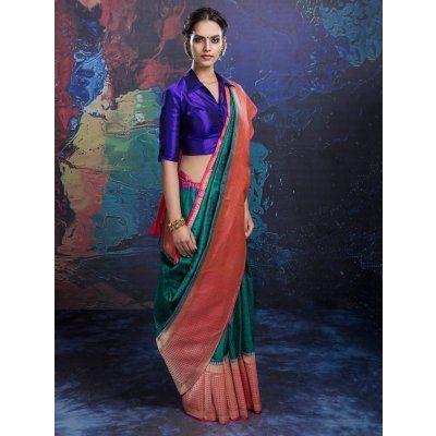 Green and Peach Banarasi Silk Saree with Weaving Work
