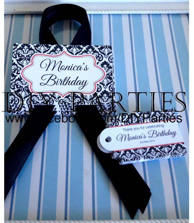 Candy buffet jar labels & gift tags - black damask & red.  Find us on Facebook:  www.facebook.com/DIYParties