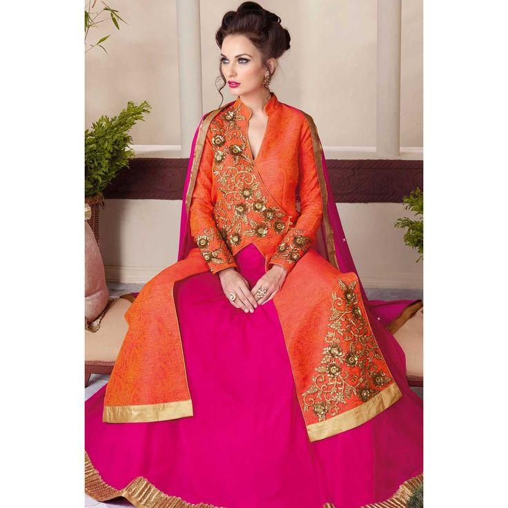 Acheter lehenga art en ligne, Orange soie chaniya choli-Andaaz Fashion dans la boutique. Andaaz mode apporte la dernière collection de vêtements ethniques de créateurs en FR