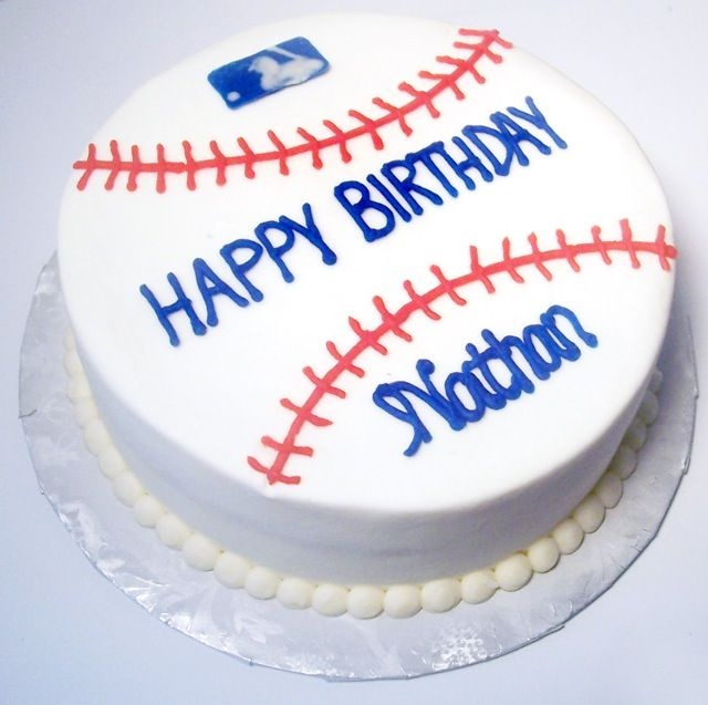 "Baseball cake - This is just a simple 8"" round CASC made to look like a baseball.  All bc except logo which is a chocolate transfer"