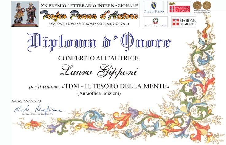 """Premio letterario """"Trofeo Penna d'Autore"""" Diploma d'onore per la saggistica"""