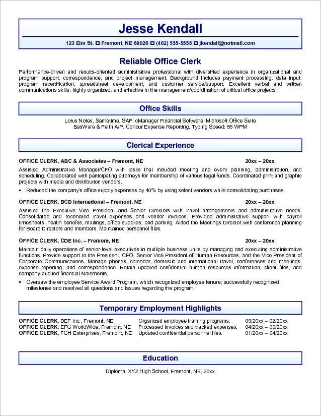 resume examples for accounting accountant resume example resume sample of accounting clerk position httpwwwresumecareerinfo - Lotus Notes Administration Sample Resume