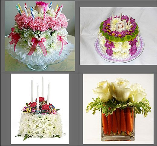 birthday cake flower arrangement