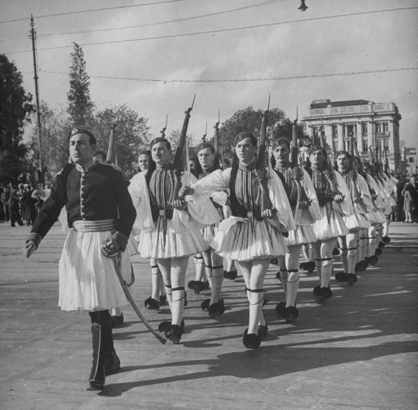 The changing of Evzone Guards at the memorial to the Unknown Soldier.Location:Greece Date taken:1948 Photographer:Dmitri Kessel