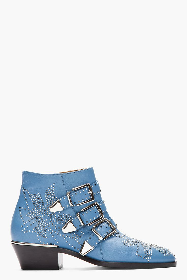 CHLOE Sky Blue Studded Suzanna Boots ($672) found on Polyvore