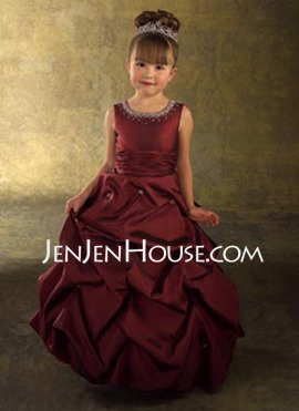 Damask Flower Girl Dress Burgundy Taffeta