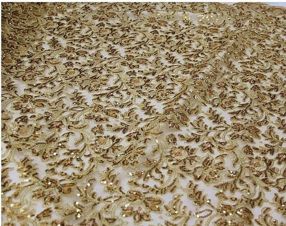 Gold Sequin Fabric , Lace Fabric, Luxury Baroque Bridal Lace Fabric      ❤ Material ❤  -------------------------------------  gauze + sequins