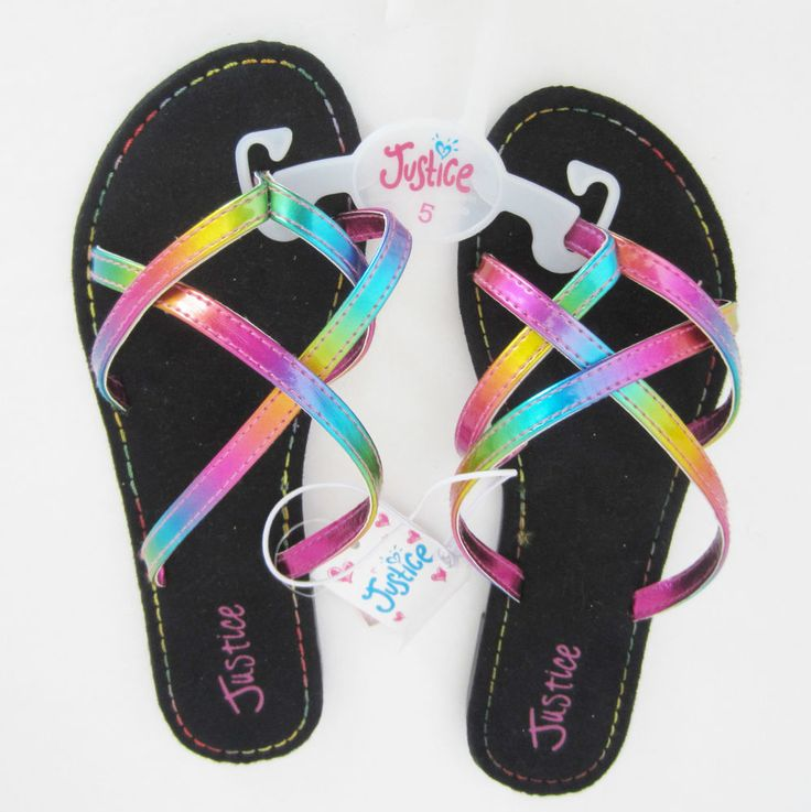 Justice for Girls Flip Flop Sandals Rainbow Weave Flat Size 5 NWT  #Justice #Sandals