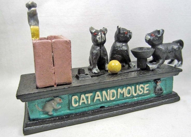 "Vintage cast iron ""Cat and Mouse"" mechanical bank"