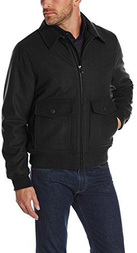 $94, Black Wool Bomber Jacket: Haggar Dorset Wool Bomber Jacket. Sold by Amazon.com. Click for more info: http://lookastic.com/men/shop_items/127475/redirect