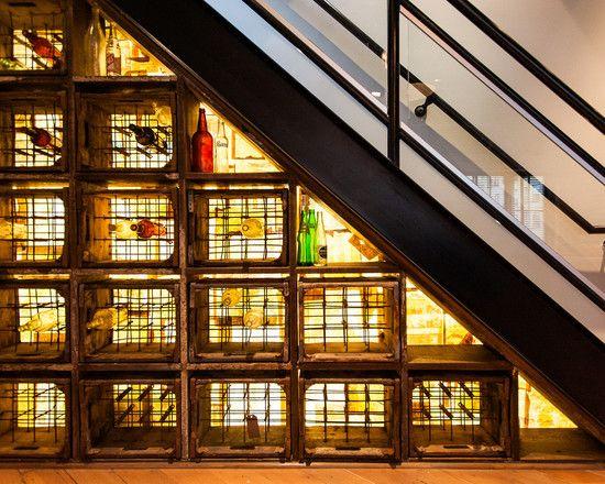 Furniture: Wine Storage Under Stairs With Industrial Wine Cellar Design And Modern Minimalist Staircase Design Also Bright Yellow Wine Storage Lighting, wine alcove, wine racks ~ Design, Interior & Decor Inspirations