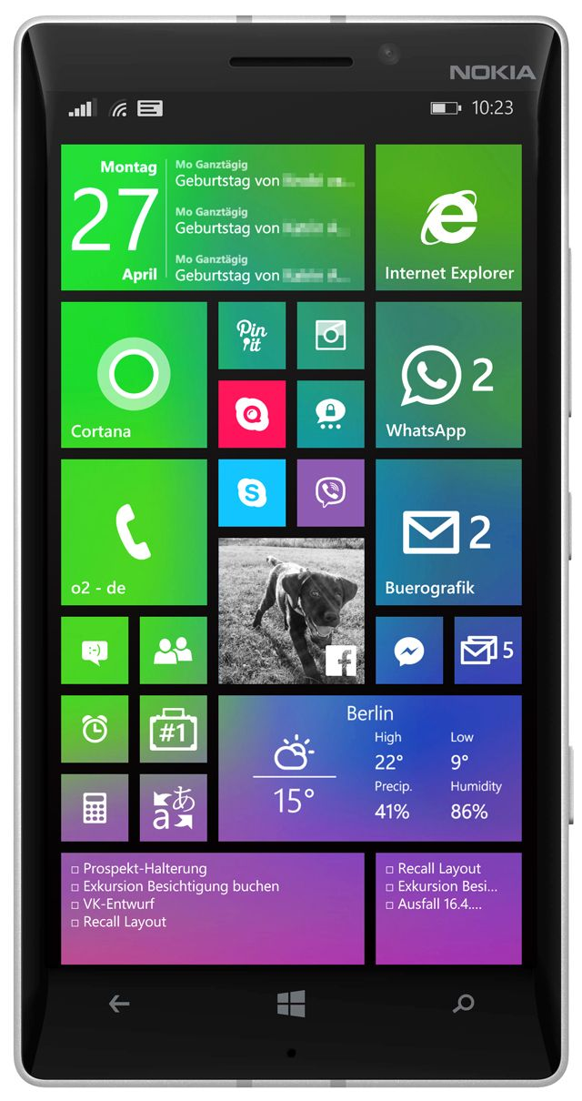 Lumia 930 start screen (1/3) with apps Cal (calendar