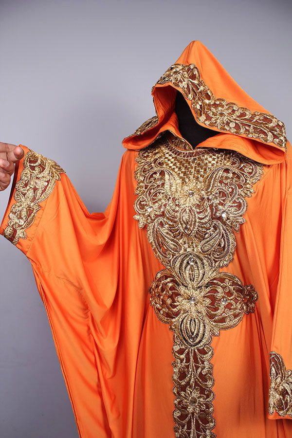 Moroccan Hoodie CAFTAN Orange Spandex Abaya Maxi Dress Gold Embroidery Jalabiya #Handmade #MaxiDress #Christmasdress #orangedress #fancydress #islamicdress #moroccankaftan #caftandress #wholesaledress #hoodiekaftan
