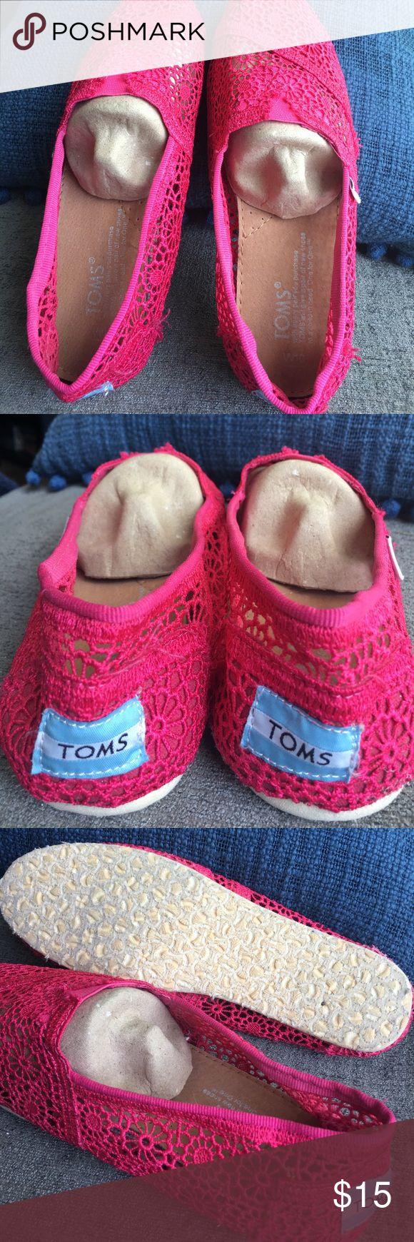 New pink lace Toms New hot pink lace Toms Toms Shoes Flats & Loafers