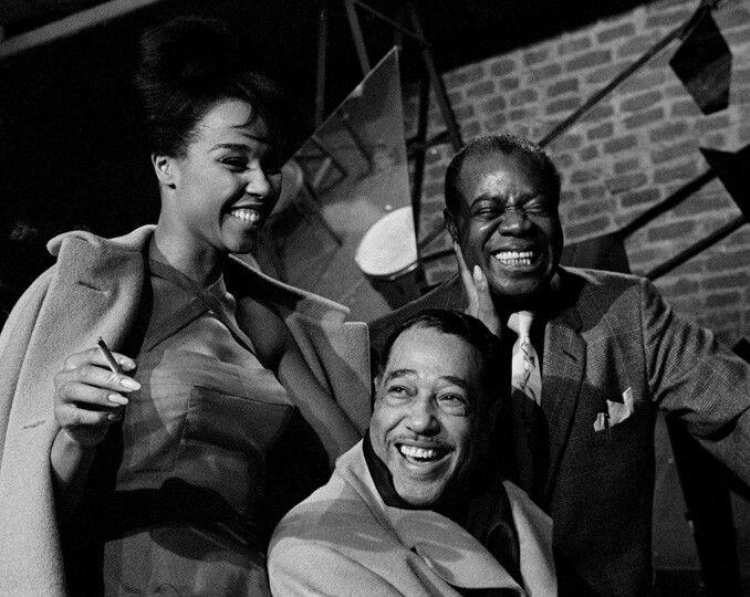 Duke Ellington, Louis Armstrong, and Diahann Carroll in Paris, 1960 by Herman Leonard.