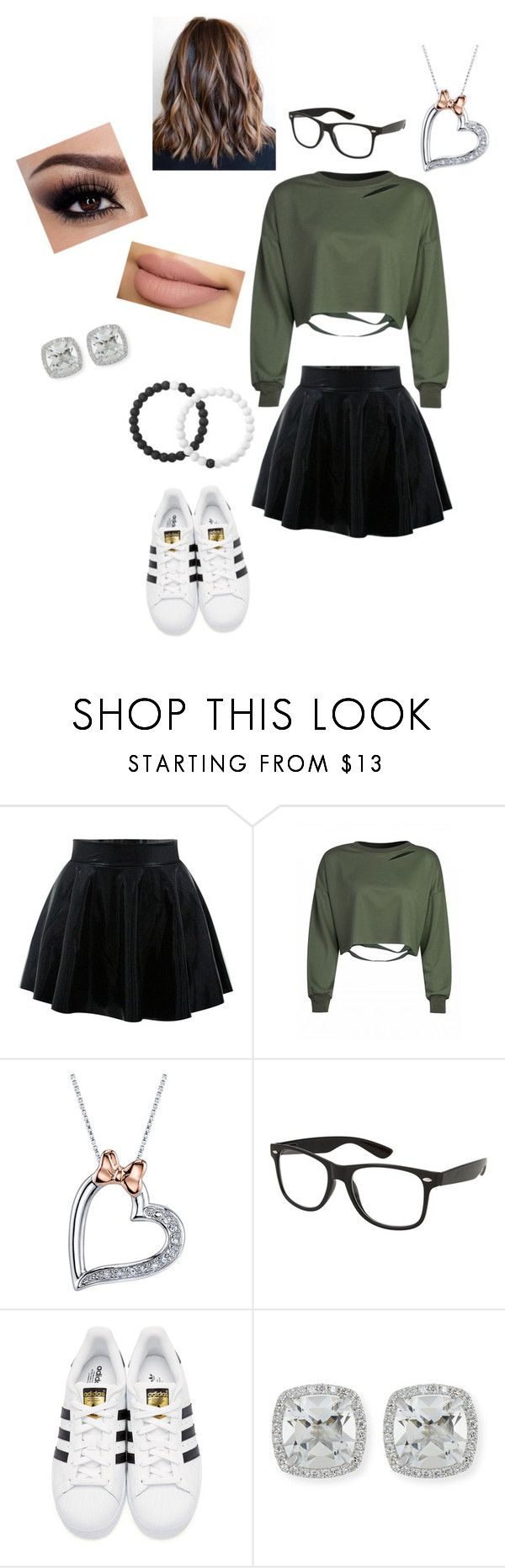 """""""My style #shorthair #skirt #Adidas"""" by rakelle-stewart ❤ liked on Polyvore featuring Disney, adidas Originals, Frederic Sage and Lokai"""