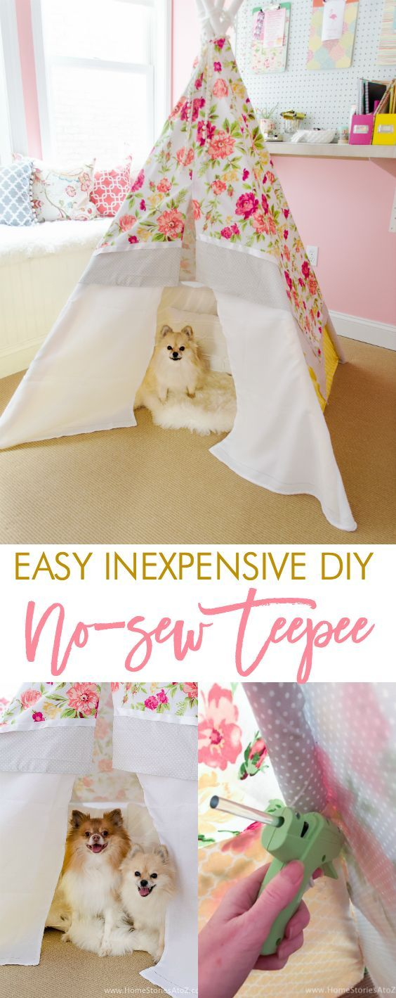 Learn how to create a DIY Teepee No Sew with this step-by-step tutorial. Easy and inexpensive with a total cost of around $30-$40.  via @homestoriesatoz