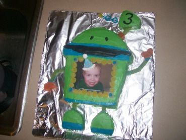 My son loves Bot from Team Umizoomi and I couldnt find any cakes of Bot online to go off from so we got creative! I used one box of cake mix, 1 1/2