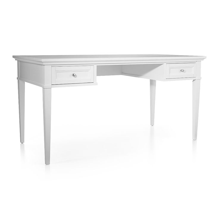 "Shop Harrison 60"" White Desk with Drawers. The two-drawer modular desk can stand alone or pair with the desktop hutch for added storage."